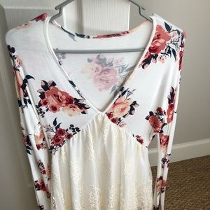 Floral and lace top